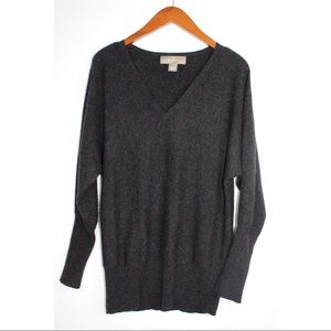 PLY Cashmere Charcoal V-Neck Pullover Sweater